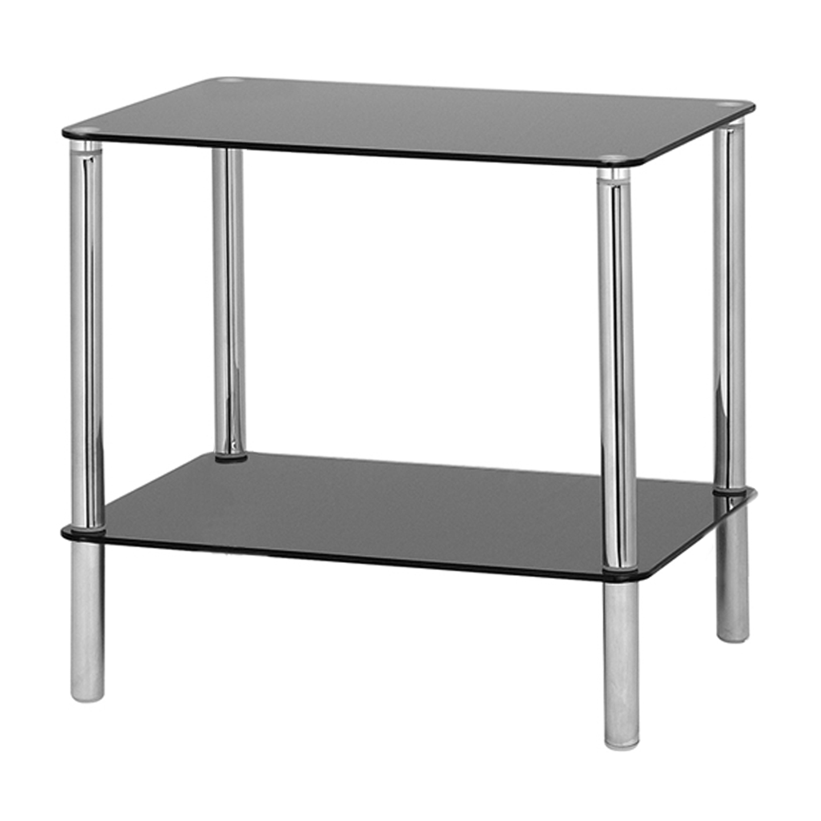 Hartleys Glass Side/End Table - 2 Tier - Black