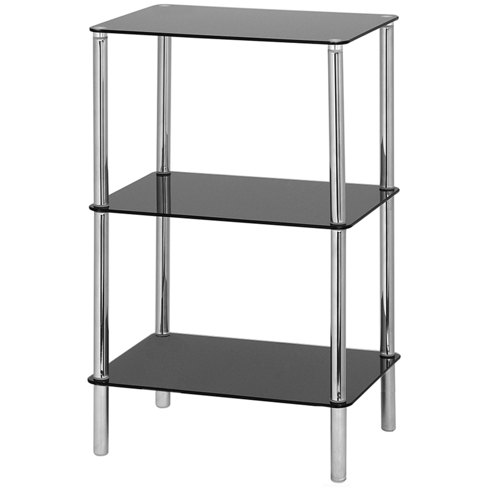Hartleys Glass Side/End Table - 3 Tier - Black