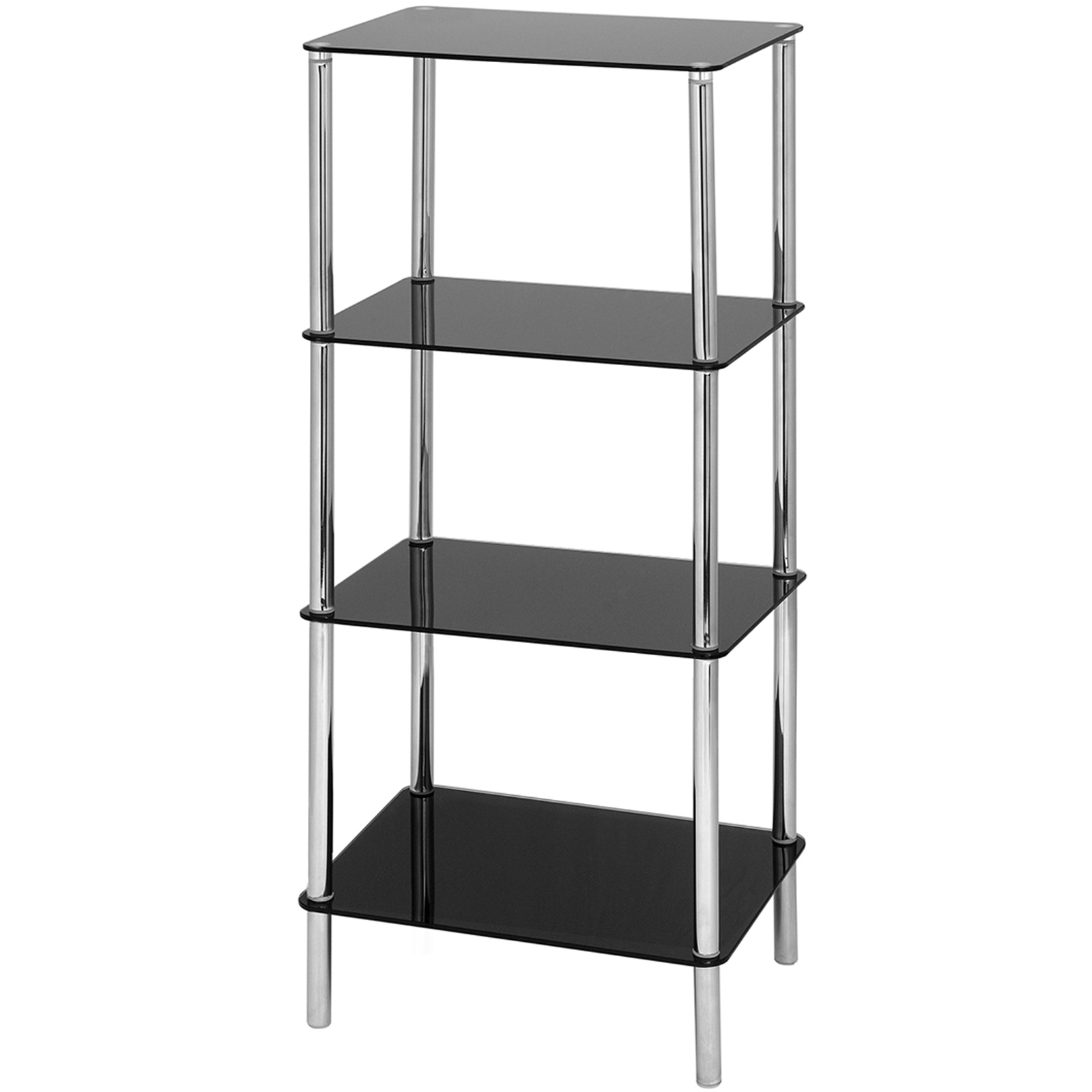 Hartleys Glass Side/End Table - 4 Tier - Black