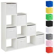 Hartleys White 10 Cube Shelving Unit & 6 Handled Box Drawers
