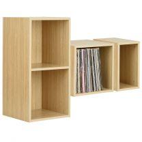 Hartleys Oak Effect Vinyl Record LP Storage Unit