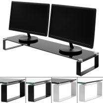 Hartleys 100cm Glass Monitor Riser Stand with Block Legs