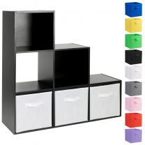 Hartleys Black 6 Cube Storage Unit & 3 Handled Box Drawers
