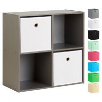 Hartleys Grey 4 Cube Storage Unit & 2 Easy Grasp Box Drawers