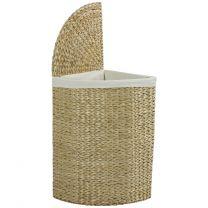 Hartleys Natural Corner Laundry Basket With Folding Lid