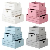Hartleys Set of 3 Shabby Chic Storage Crates – Choice of Colour