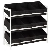 Hartleys 3 Tier Storage Unit with 9 Canvas Bins - Black & White