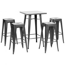 Hartleys Gunmetal Bistro Table & Stool Set