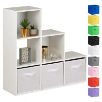 Hartleys 15mm White 6 Cube Storage Unit and 3 Handled Box Drawers