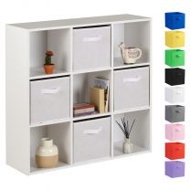 Hartleys 15mm White 9 Cube Storage Unit and 4 Handled Box Drawers