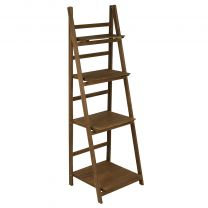 Hartleys 4 Tier Folding Ladder Shelf - Brown