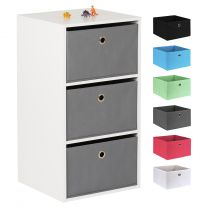 Hartleys White 3 Cube Kids Storage Unit & 3 Easy Grasp Box Drawers