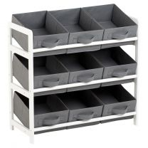 Hartleys 3 Tier Storage Unit with 9 Canvas Bins - Grey & White