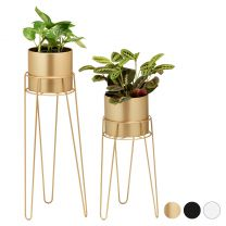 Hartleys Set of Tall Hairpin Leg Plant Pots with Stands