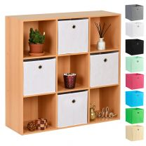 Hartleys Beech 9 Cube Storage Unit & 4 Easy Grasp Box Drawers