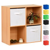 Hartleys Beech 4 Cube Storage Unit & 2 Handled Box Drawers