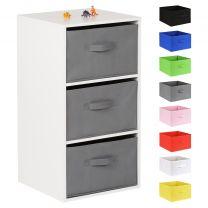 Hartleys White 3 Cube Kids Storage Unit & 3 Handled Box Drawers