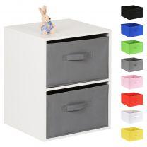 Hartleys White 2 Cube Kids Storage Unit & 2 Handled Box Drawers