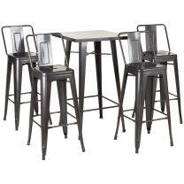 Hartleys Gunmetal Bistro Table & Bar Stools with Backrests Set