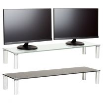 Hartleys X-Large 100cm Glass Monitor Riser Stand with Chrome Legs