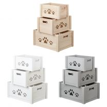 Hartleys Set of 3 Paw Print Storage Crates - Choice of Colour