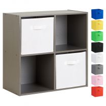 Hartleys Grey 4 Cube Storage Unit & 2 Handled Box Drawers