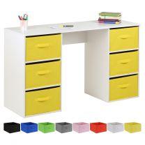 Hartleys Kids White Storage Desk & 6 Handled Box Drawers