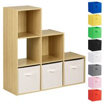 Hartleys Oak 6 Cube Shelving Unit & 3 Handled Box Drawers