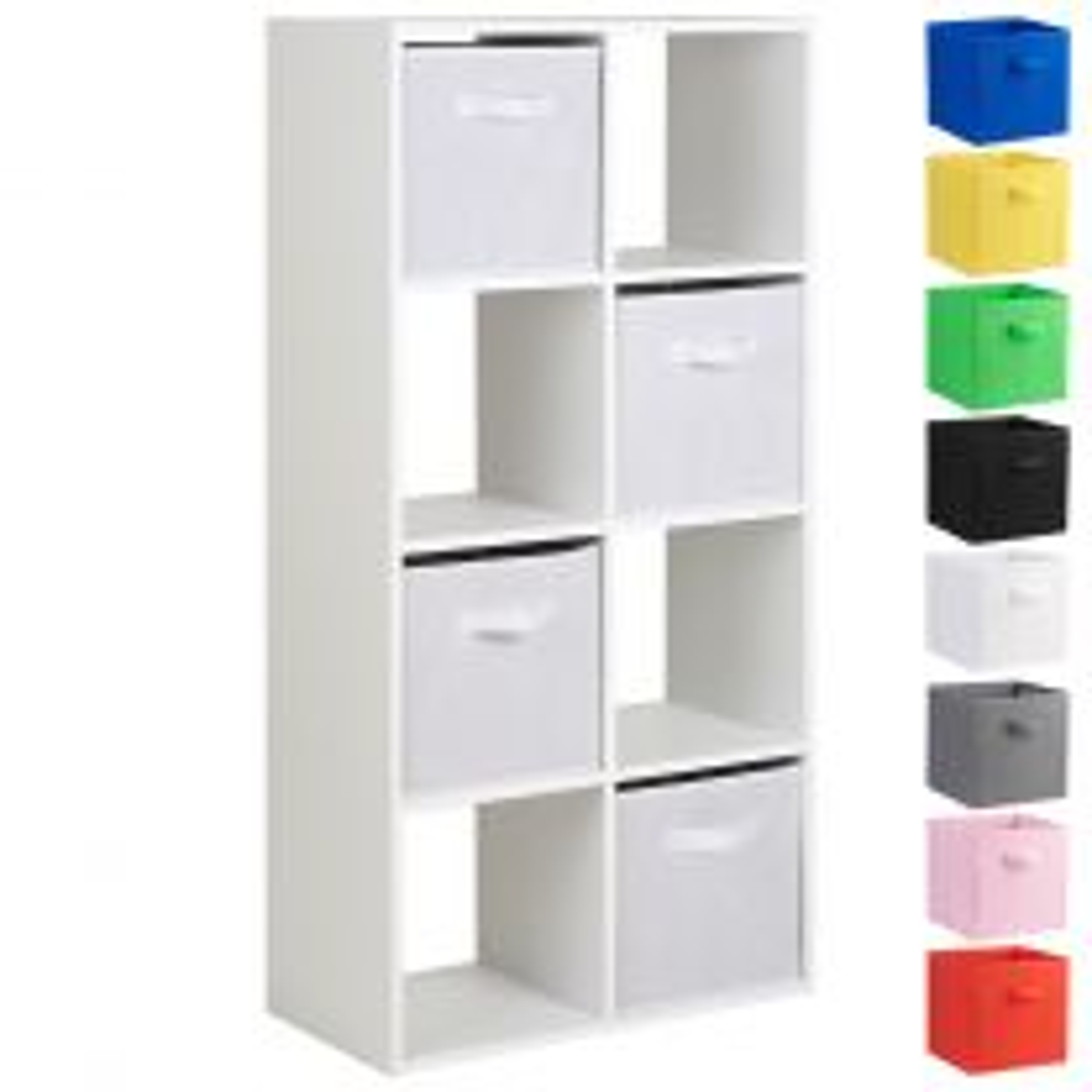 Hartleys White 8 Cube Shelving Unit & 4 Handled Box Drawers