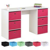 Hartleys Kids White Storage Desk & 6 Easy Grasp Box Drawers