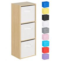 Hartleys Oak Effect 3 Tier Cube Storage Unit & 3 Handled Box Drawers