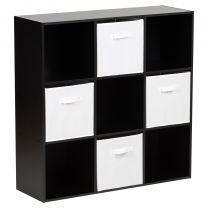 Hartleys Black 9 Cube Storage Unit & 4 White Handled Box Drawers