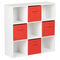 Hartleys White 9 Cube Storage Unit & 4 Red Handled Box Drawers