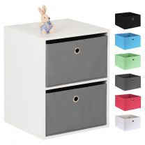 Hartleys White 2 Cube Kids Storage Unit & 2 Easy Grasp Box Drawers