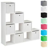 Hartleys White 10 Cube Shelving Unit & 6 Easy Grasp Box Drawers