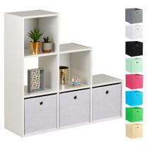 Hartleys 15mm White 6 Cube Storage Unit and 3 Easy Grasp Box Drawers