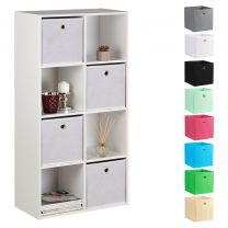 Hartleys 15mm White 8 Cube Storage Unit and 4 Easy Grasp Box Drawers