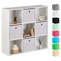Hartleys 15mm White 9 Cube Storage Unit and 4 Easy Grasp Box Drawers