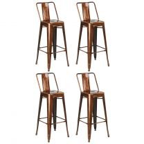Hartleys Industrial Copper Metal Bar Stools - Set of Four