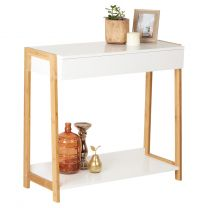 Hartleys White & Bamboo Hallway Console Table