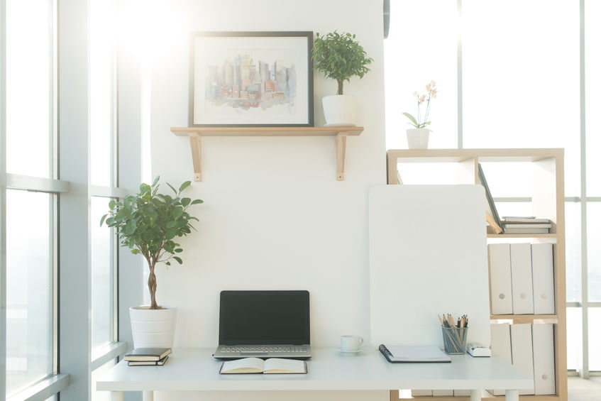 super tidy white office space with lots of storage and organisation
