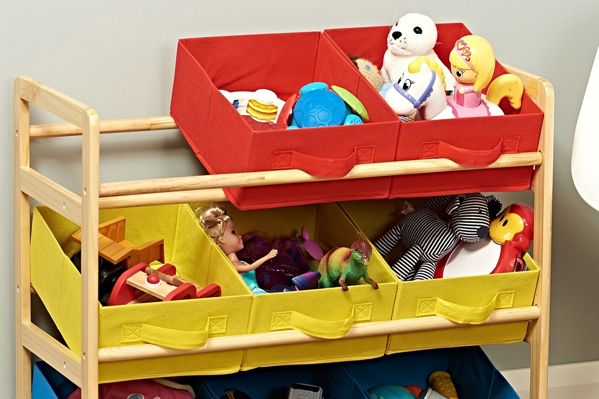 colourful kids storage unit with red yellow and blue boxes for toys books and stationery
