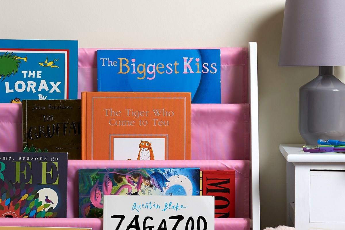 cute pink sling bookshelf for kids books