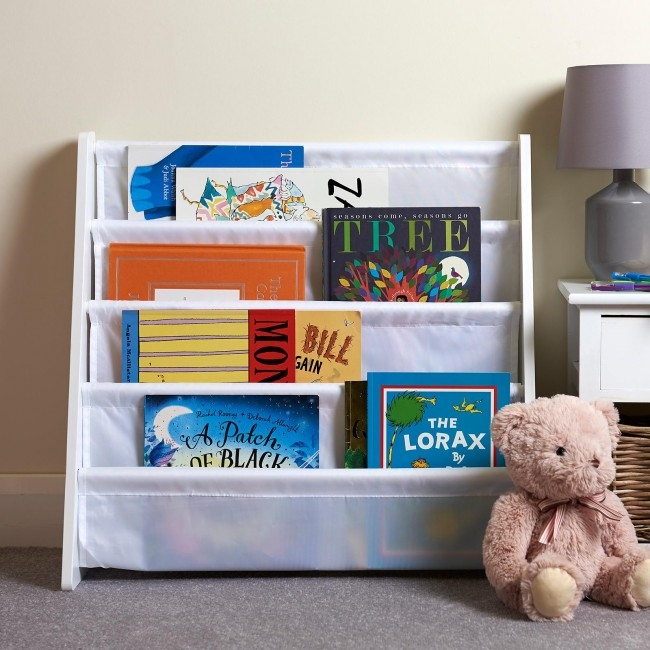 hartleys direct all white wooden bookshelf with lots of children's books in