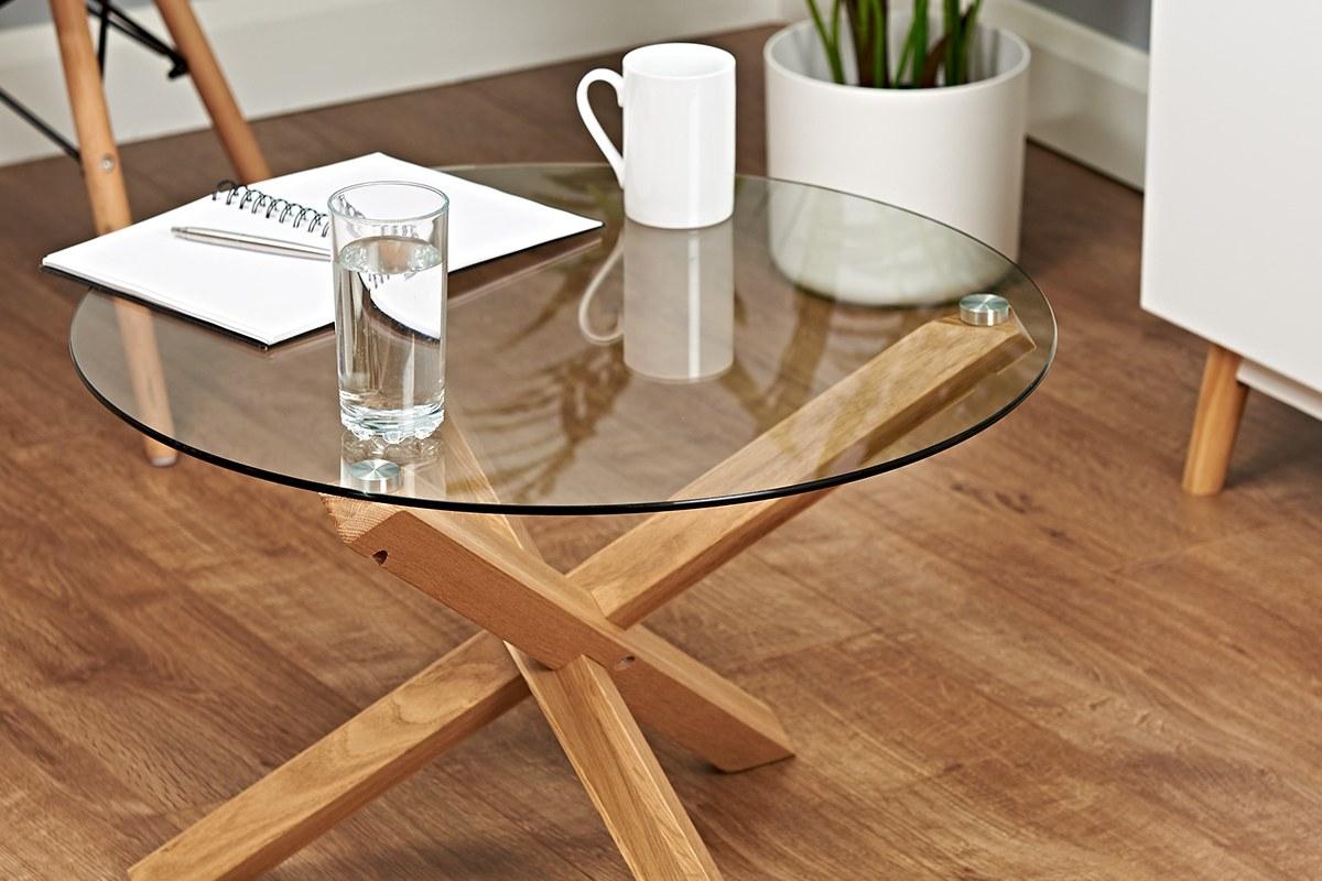 small cross leg round glass coffee table