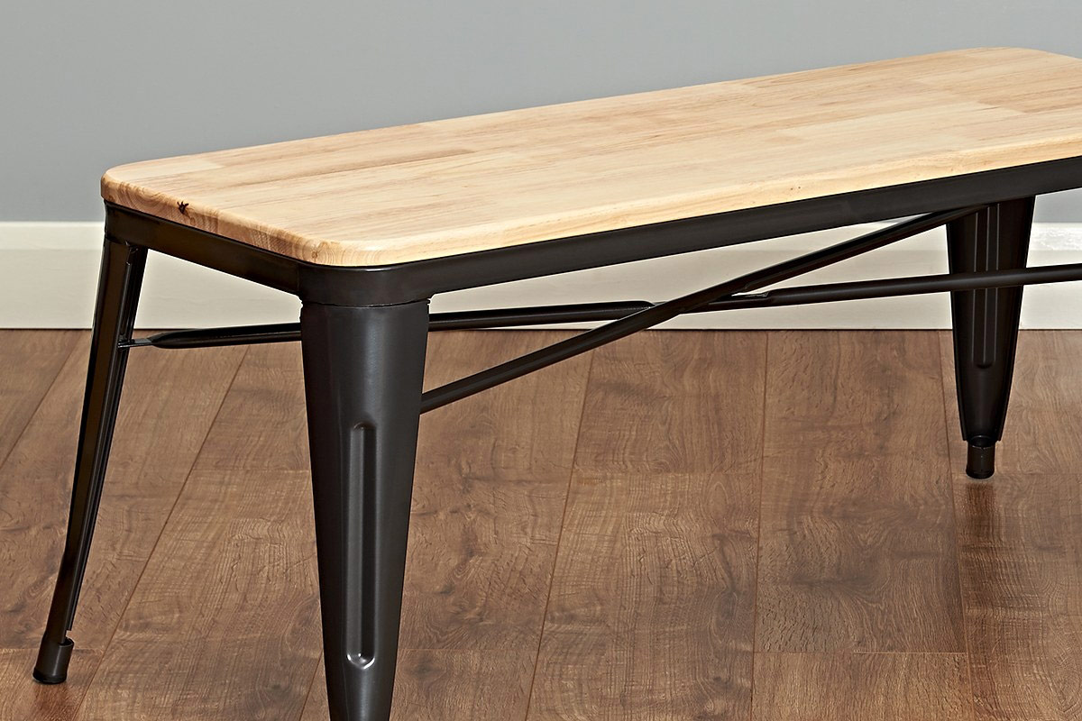 modern scandinavian industrial bench for the dining room with metal legs and a wooden top