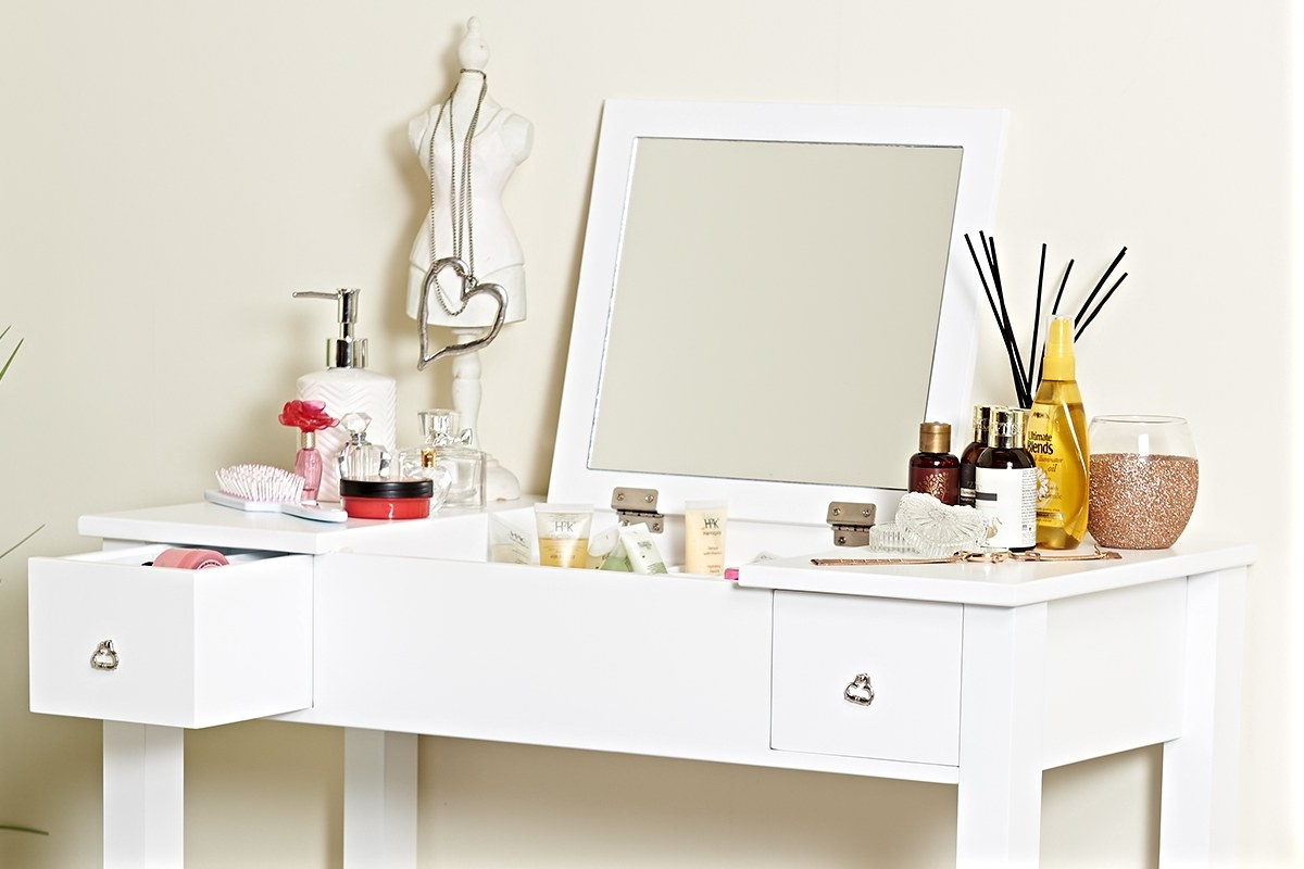white dressing tables with folding vanity mirror