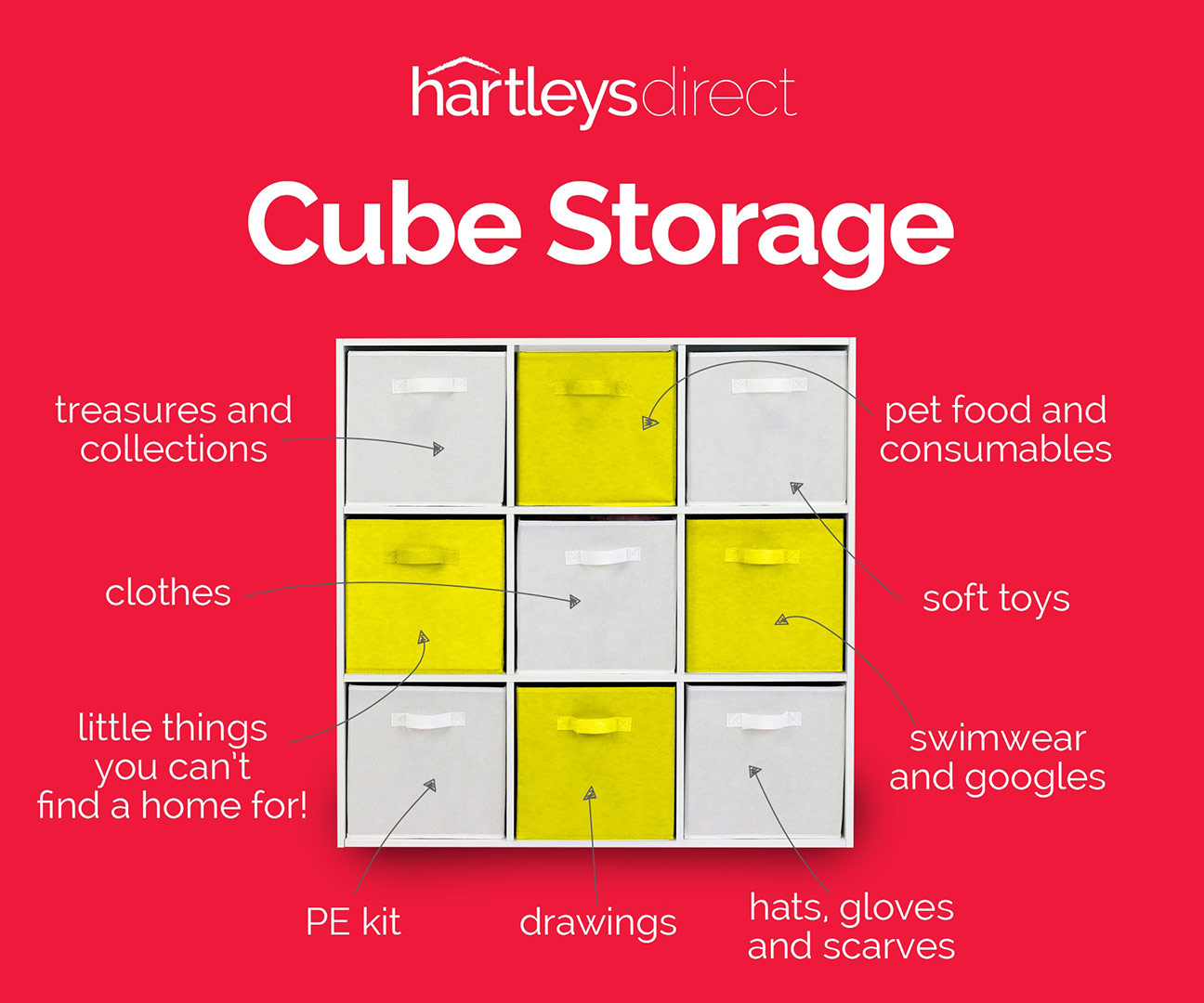 image of hartleys 9 cube storage unit with arrows pointing to each drawer