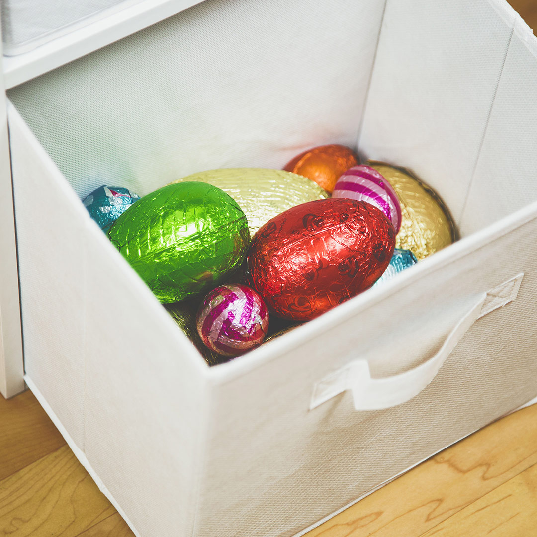 Hartleys-blog-on-easter-egg-hunt-ideas-picture-of-some-easter-eggs-in-cube-storage-box
