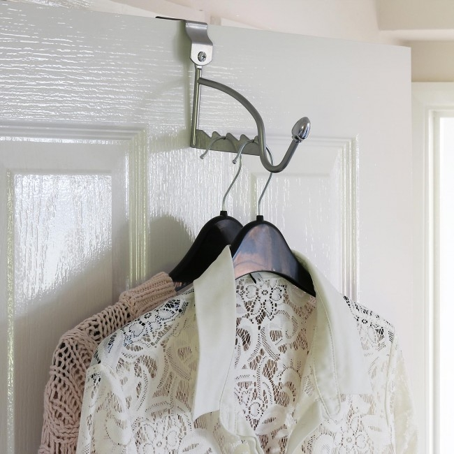 over the door hook with clothes hanging off